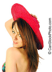 Beautiful girl with red hat