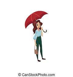 Beautiful girl with red umbrella, rainy weather concept cartoon vector Illustration