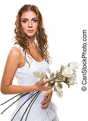 beautiful girl with roses on isolated white