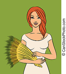 Beautiful girl with sheaf of wheat