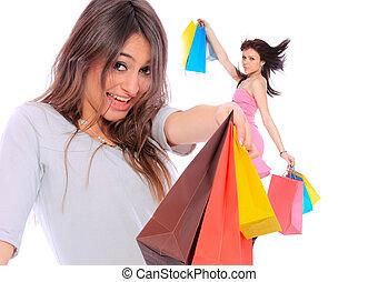 Beautiful girl with shopping bag