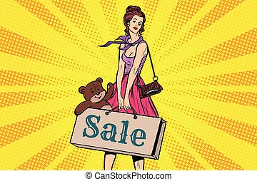 Beautiful girl with soft toy bear, discounts and sale. Pop...
