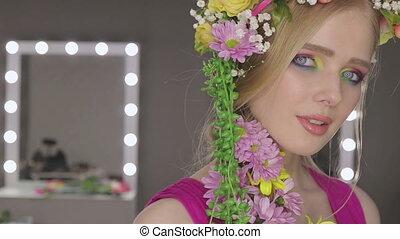 Beautiful Girl with Spring Flowers.Fresh skin