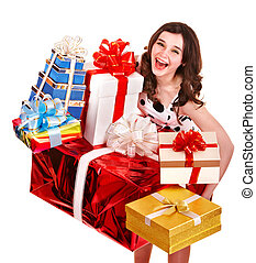 Beautiful girl with stack of gift box.