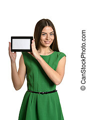 Beautiful girl with tablet pc