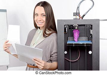 Beautiful girl with three-dimensional printer - Beautiful...