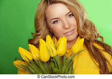 Beautiful Girl With Tulip Flowers. Beauty Model Woman Face. Perfect Skin.