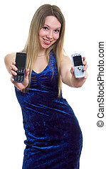 beautiful girl with two cellular phones
