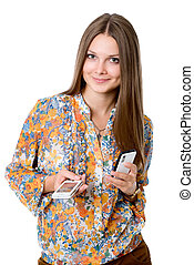 Beautiful girl with two mobile phones