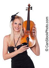 Beautiful girl with violin
