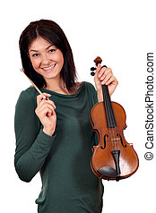 beautiful girl with violin on white