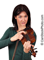 beautiful girl with violin portrait