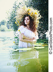 beautiful girl with water lily
