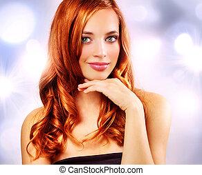 Beautiful girl with wavy hair