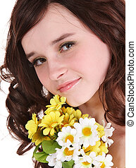 Beautiful girl with wild flower.