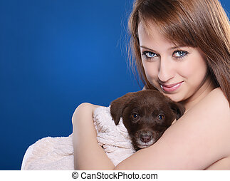 girl with young dog