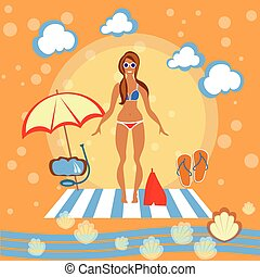 Beautiful girl, woman, beach, sunbathe, swimsuit, bikini, sunglasses, beach umbrella, smile, swimming, tropical, tourism, recreation, sea, vector illustration