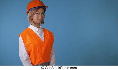 beautiful girl worker greeting say hello