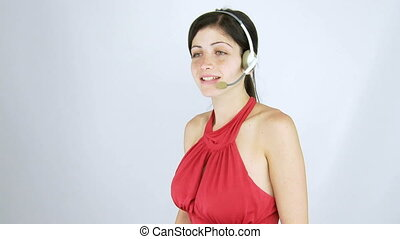 beautiful girl working call center