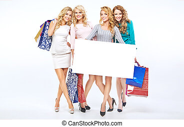 Beautiful girlfriends holding an empty board - Fabulous...