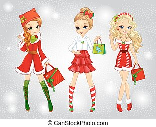 Beautiful Girls Dressed As Santa Claus Shopping