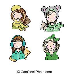 Beautiful girls in hats.