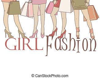 Beautiful girls on shopping