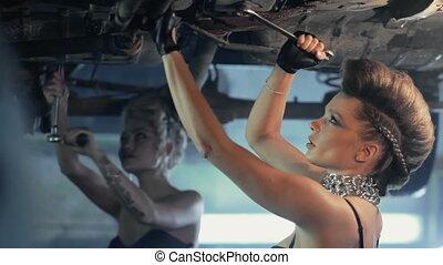 beautiful girls repair car