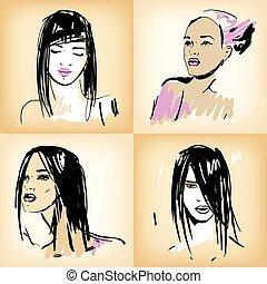 Beautiful girls set.