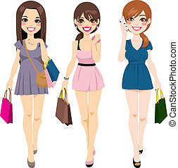 Beautiful Girls Shopping - Three beautiful young girls in...