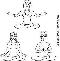 girls sitting in yoga lotus positio - Beautiful girls...