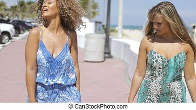 Beautiful girls strolling on tropical promenade - Content...