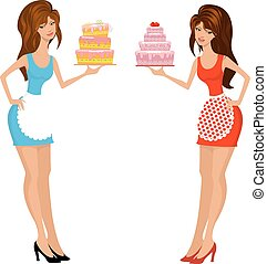 Beautiful girls with cake