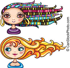 Beautiful girls with hair styles - Vector illustration: 2...