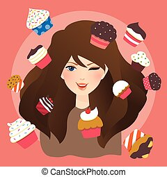 beautiful girls woman with cup cakes illustration