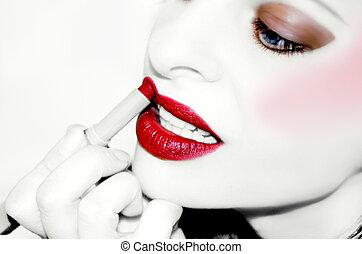 glamor woman - beautiful glamor woman applies makeup
