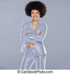 Beautiful glamorous Afro-American woman in a stylish...