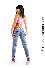 beautiful glamorous young girl sporting a slender woman in fashionable jeans on a white background