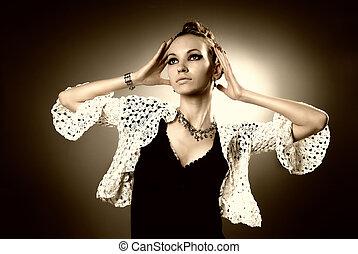 beautiful glamour woman in studio