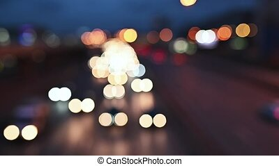 Beautiful glittering bokeh in dark blurry background at ...