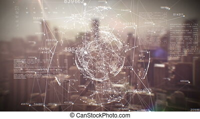 Beautiful Global Business Hologram. Loop Animation of Digital Sphere over Abstract City. Business and Technology Concept.