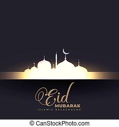 beautiful glowing mosque eid mubarak background