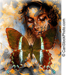 Beautiful Goddness women and color butterfly, mixed media,...