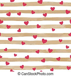 beautiful gold and white seamless watercolor striped background with red hearts.