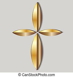 Beautiful gold cross icon logo