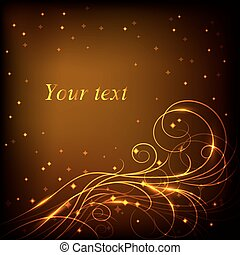 Beautiful gold pattern on dark background with stars.