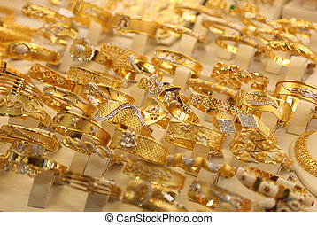 Beautiful gold rings in a shop-window in Istanbul, Turkey