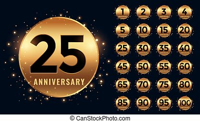 beautiful golden anniversary labels banner big collection