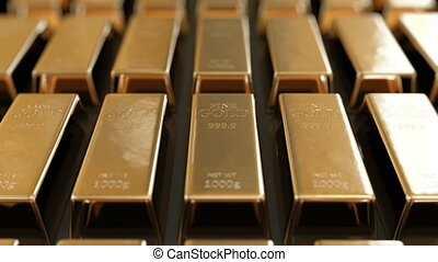 Beautiful Golden Bullion Laying in Rows with Bright Reflections Seamless. Looped 3d Animation of Gold Bars Glowing in Sun Shine. Banking and Wealth Concept. 4k Ultra HD