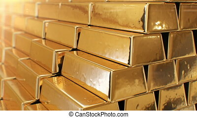 Beautiful Golden Bullions Making Stair Shining Bright Seamless. Looped 3d Animation of Gold in Bars with Yellow Reflections Glowing. Banking and Wealth Concept. 4k Ultra HD 3840x2160